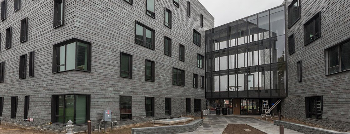 An exterior shot of the new residence hall on campus