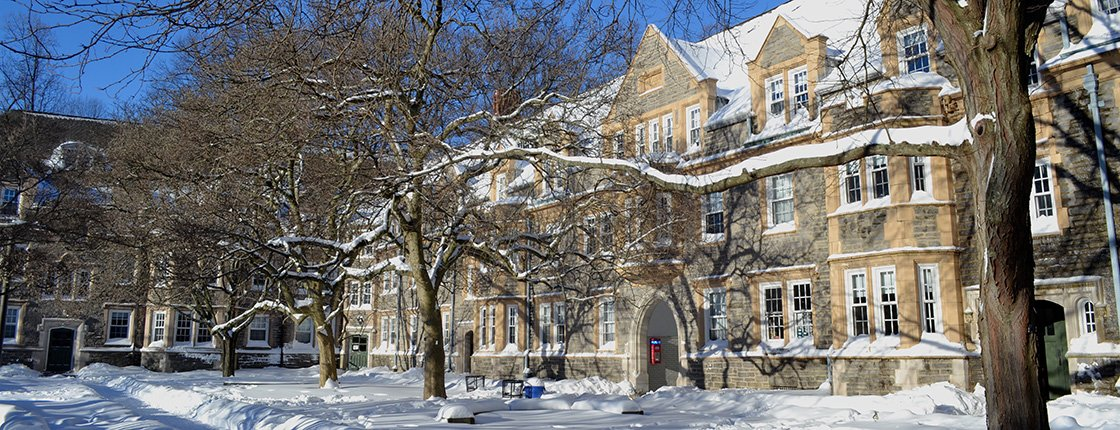 Wharton Hall covered in snow