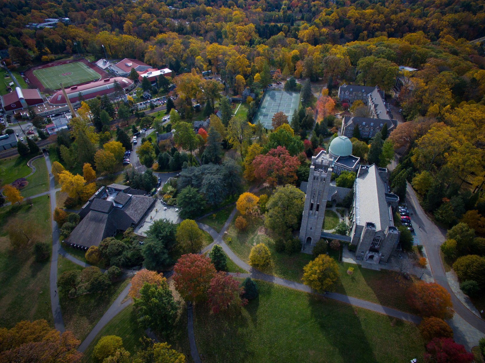 birds eye view of Swarthmore campus buildings