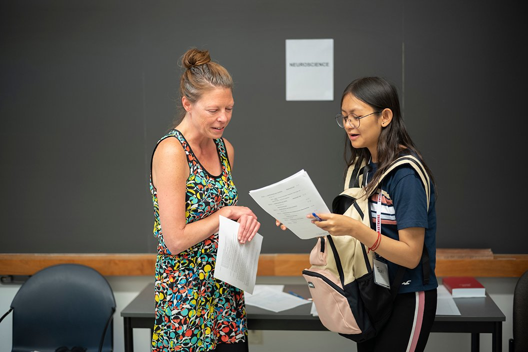 Student speaks with professor during class advising period