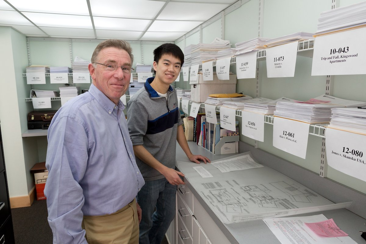 Daniel Honig '72, CEO at Structures Consulting Engineers in Swarthmore, Pa with Eric Liu '15 during his externship at the firm