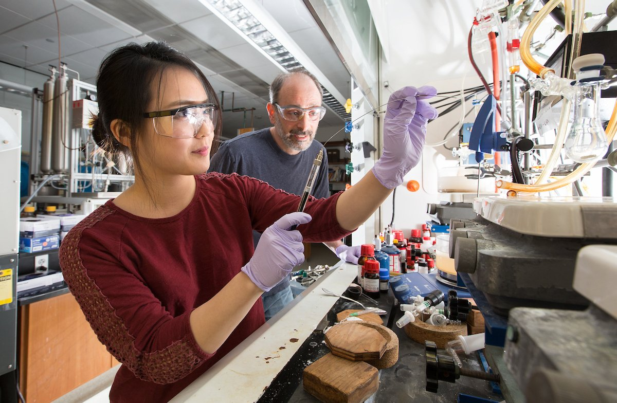 Sooyun Choi '17 sets up a reaction in professor Bob Paley's Organic Synthesis Research Lab
