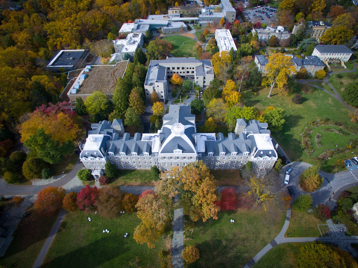 Aerial view of Parrish Hall at Swarthmore College