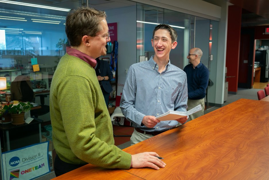 A Swarthmore College student with his externship mentor