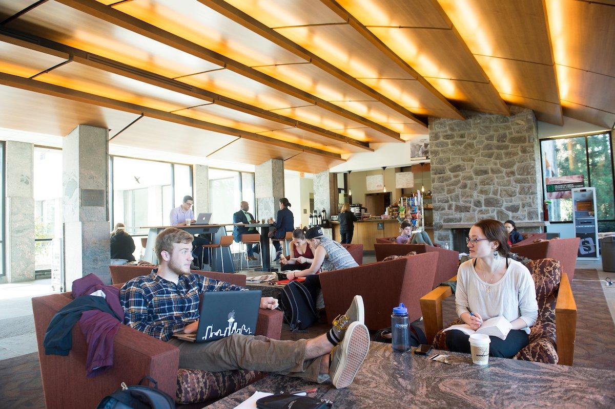 Estudiantes sentados en el café Kohlberg