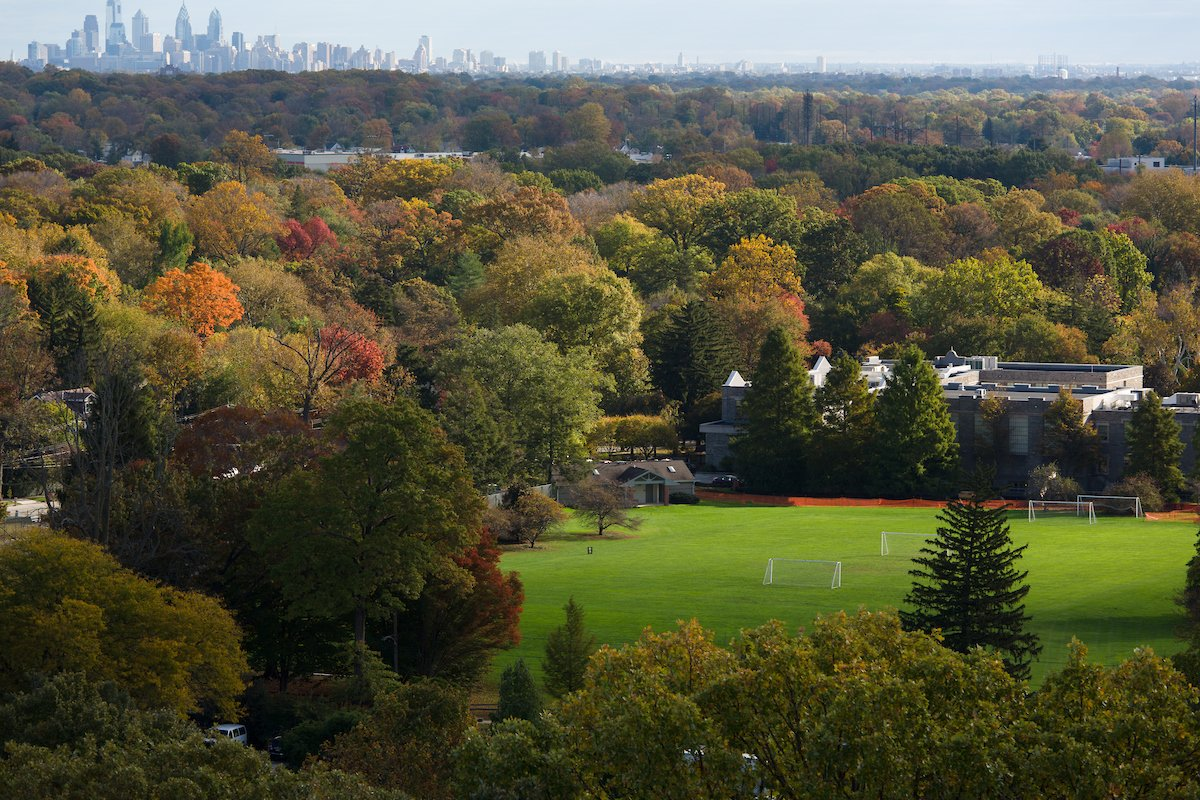 View of campus with Philadelphia skyline on the horizon