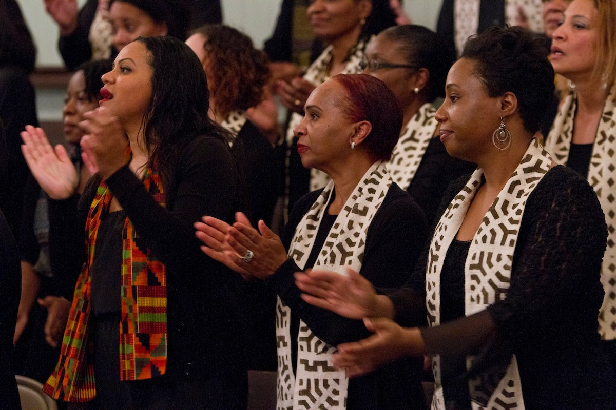 Swarthmore College Alumni Gospel Choir performing in 2012