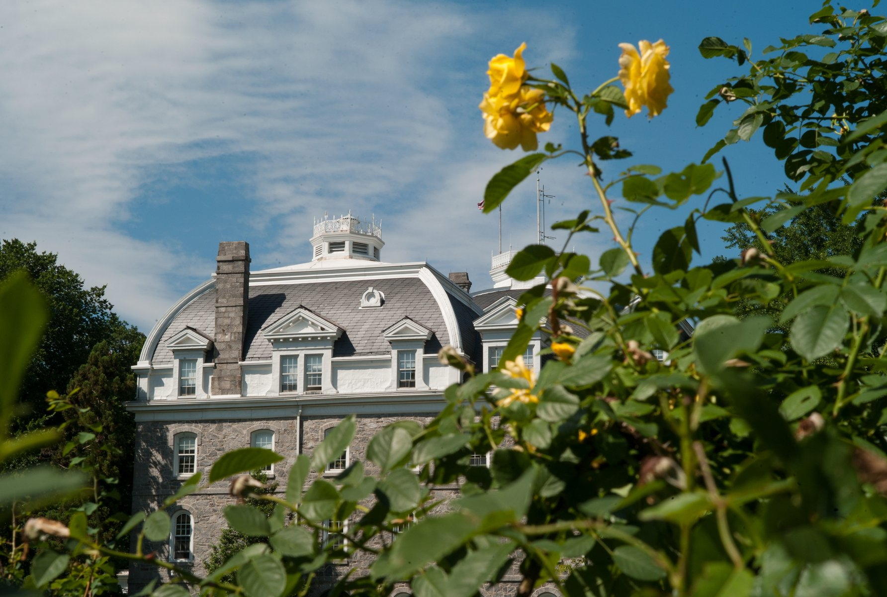 Parrish Hall as seen from the Dean Bond Rose Garden