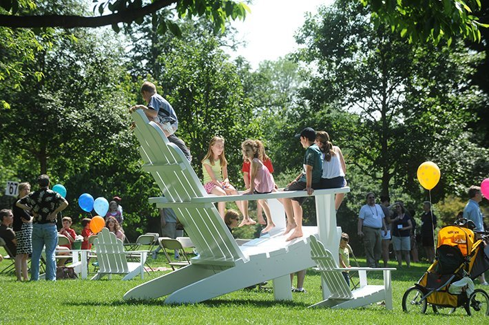 Children play on the Big Chair