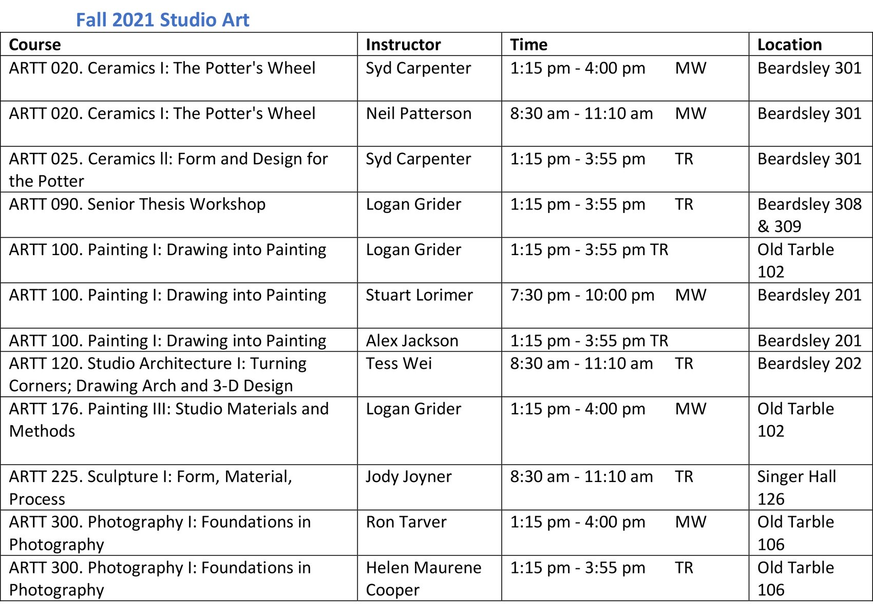 Fall 2021 art class schedule