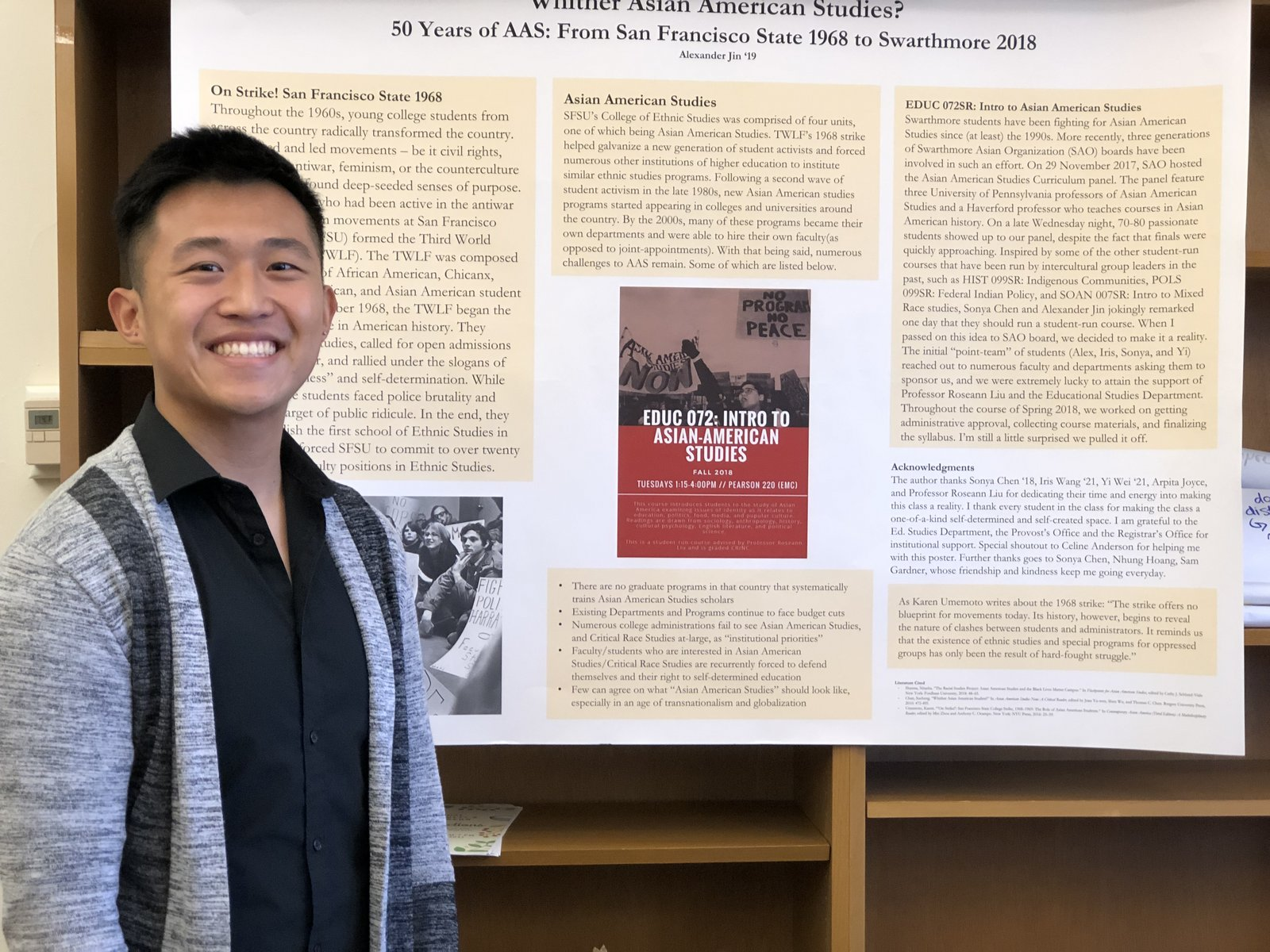 Alex Jin '19 Presenting a Project from EDUC 072: Intro to Asian American Studies