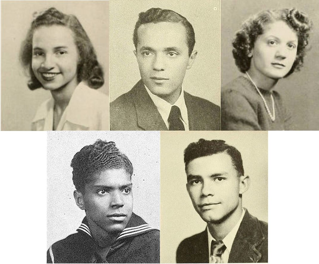 Clockwise from left: Dorothea Kopchynski, Walter Carl Darrow White, Gloria Clement, Walter Winter, and Norman Matlock.