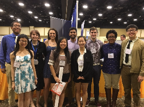 Swarthmore students presenting at the ACS Mid Atlantic Regional Meeting. Left to right. Back row. Aaron Holmes '18, Mackinsey Smith '19, Hayley Raymond '18, Arka Rao '18, Henry Wilson '18, Laela Ezra '19, Allan Gao '19. Front row. Linda Lin '20, Elise Kim '18, and Linda Lee '18. Not pictured, Audra Woodside '19.