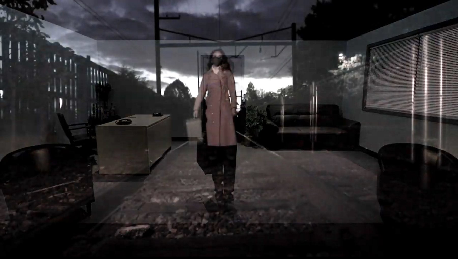 Layered images show a woman in a trench coat wearing a face mask standing on train tracks and an office scene.
