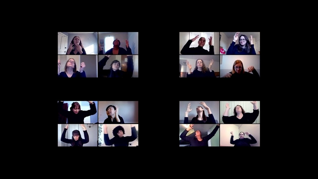 16 zoom squares arranged in groups of four against a black background; in the squares are 16 people in black shirts dancing