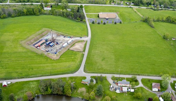 This natural gas well site is a neighbor to a church and several homes in Dimock, PA.