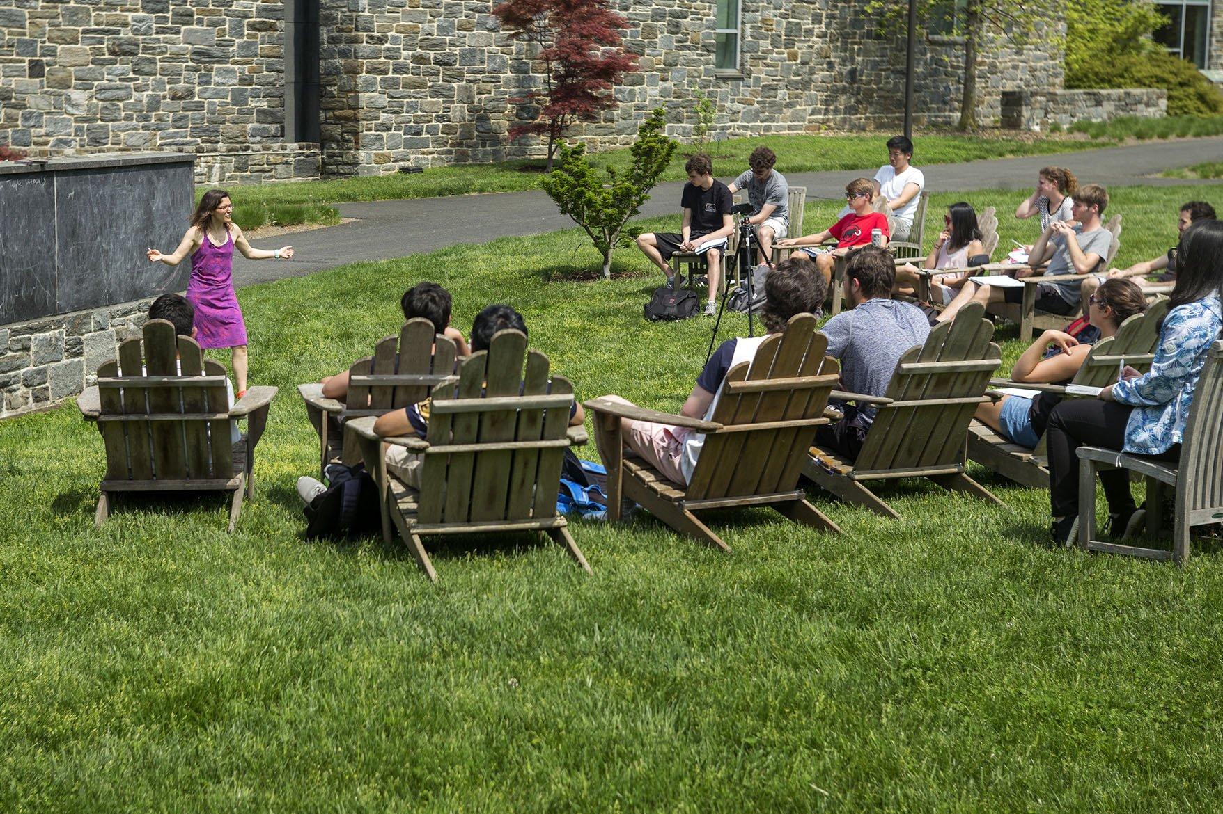 teaching in outdoor classroom