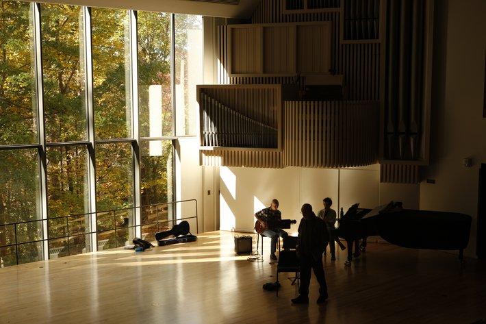 Musicians inside Lang Concert Hall