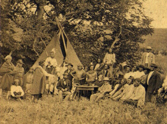 Photograph of Council between Winnebago and Omaha tribes with Superintendent Janney in Nebraska in 1871
