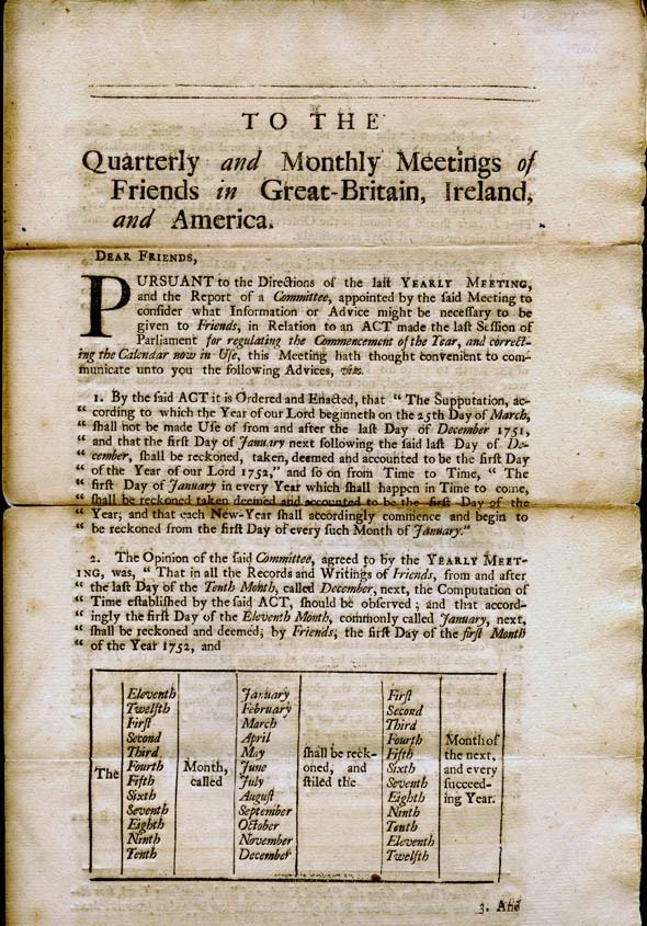 Epistle sent by the London Yearly Meeting for Sufferings in 1751