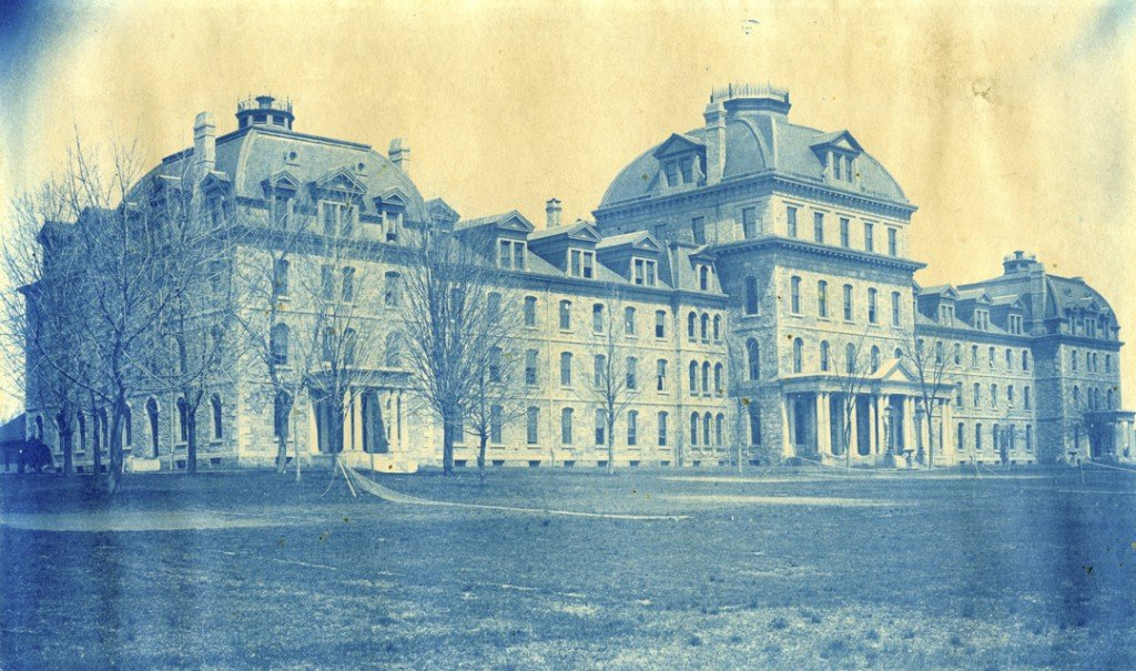 Cyanotype photograph of Parrish Hall