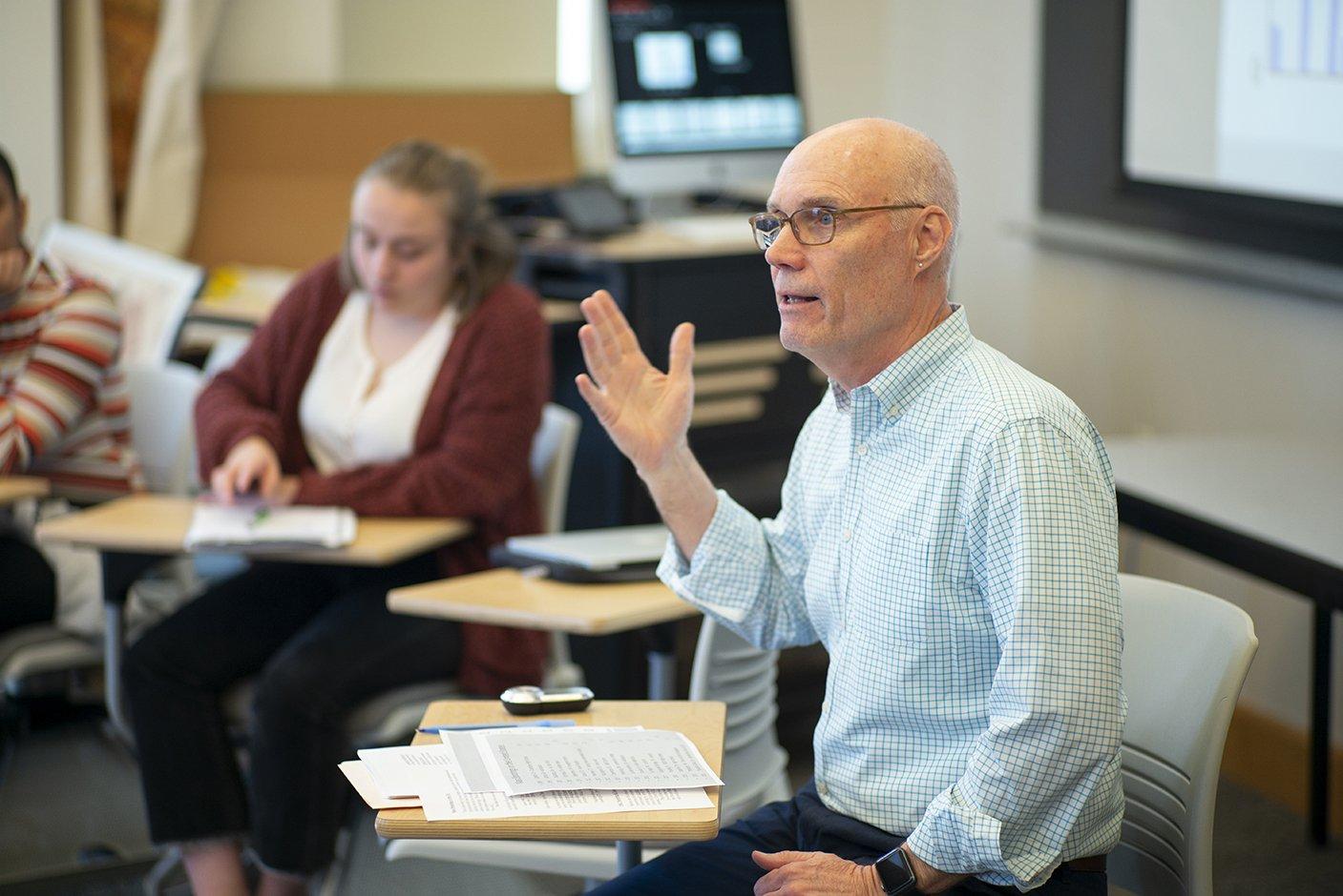Professor Dorsey in the midst of teaching.