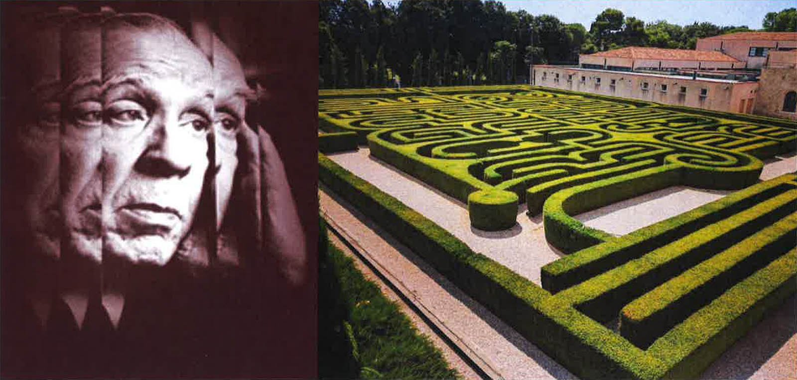 Photo of Jorge Luis Borges and a garden maze