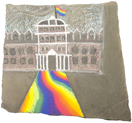 Rainbow chalk drawing of Parrish Hall; by Maria Aghazarian