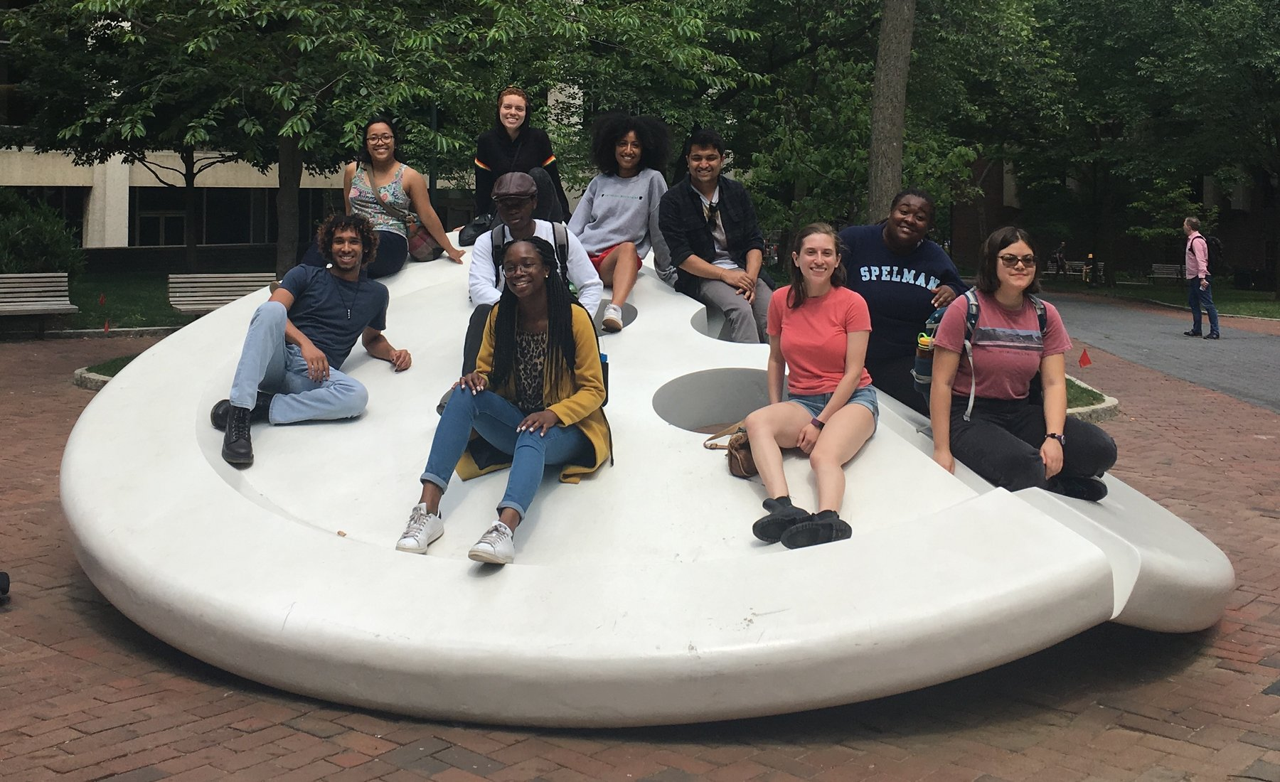 interns on button sculpture