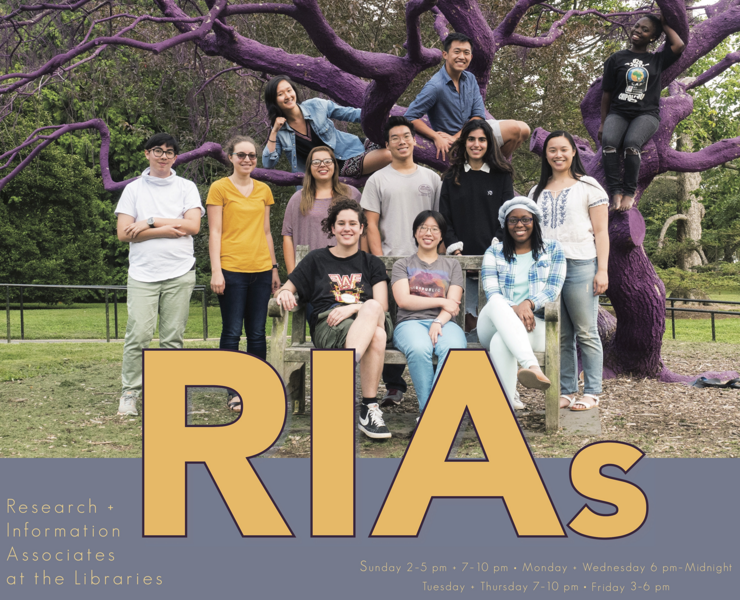 "Photograph of students in front of purple tree. Text superimposed over image reads ""RIAs."""