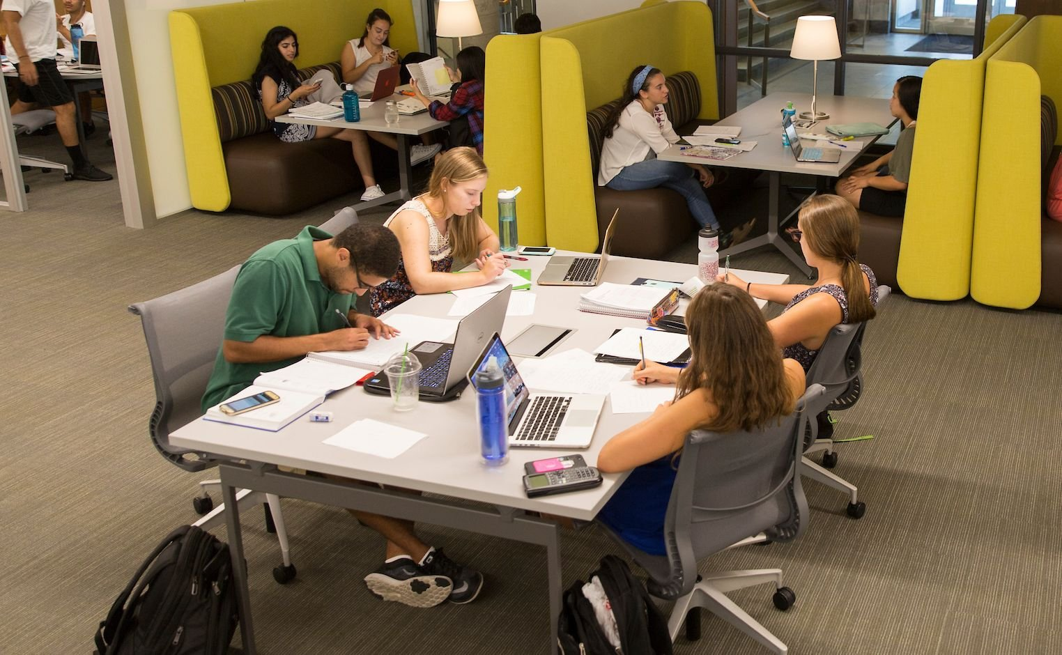 students studying in cornell library