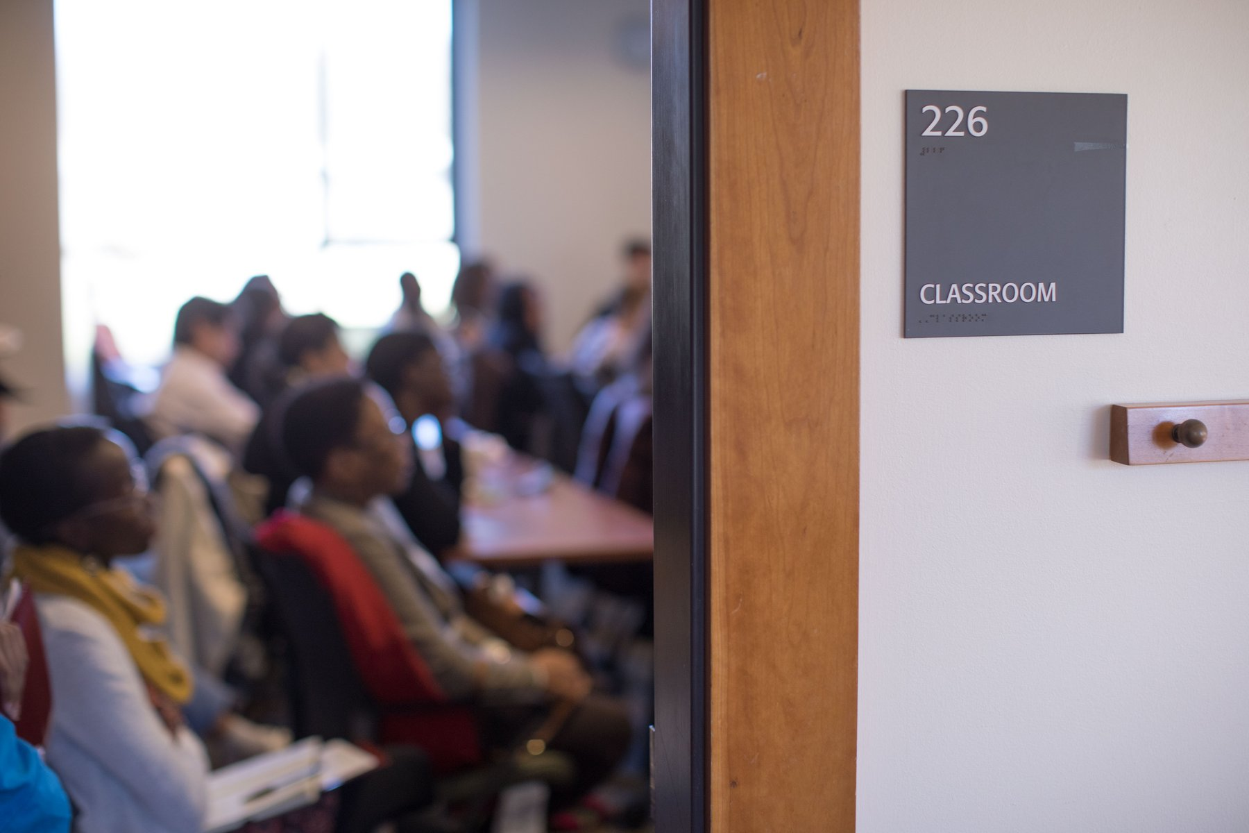 A classroom with attentive students in Kohlberg.