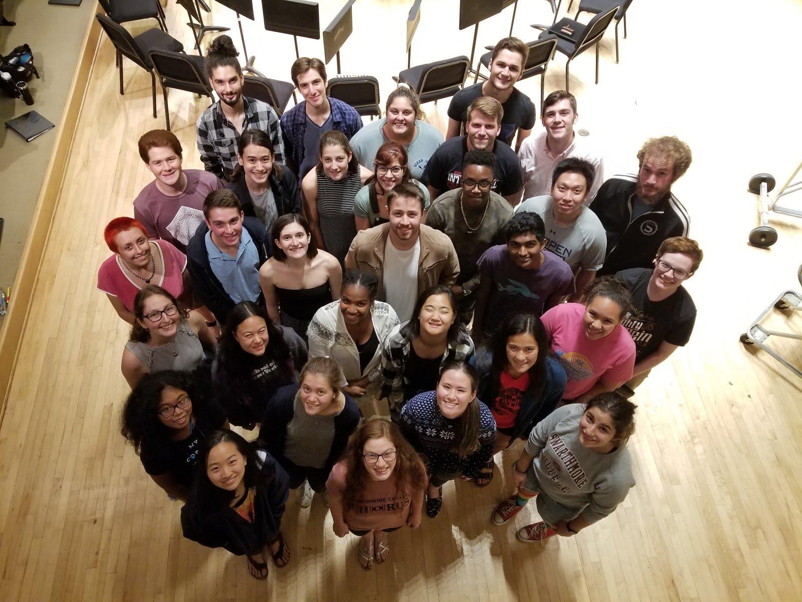 Swarthmore music students huddled together