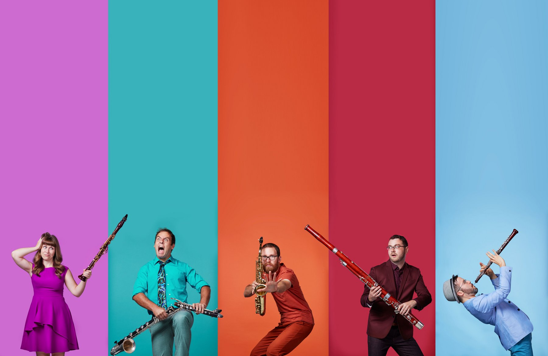 Five musicians each with a different color background