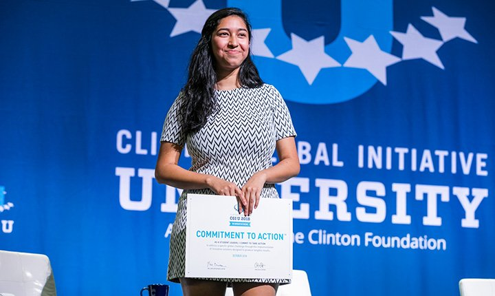 Rebecca Castillo '20 at CGI U ceremony