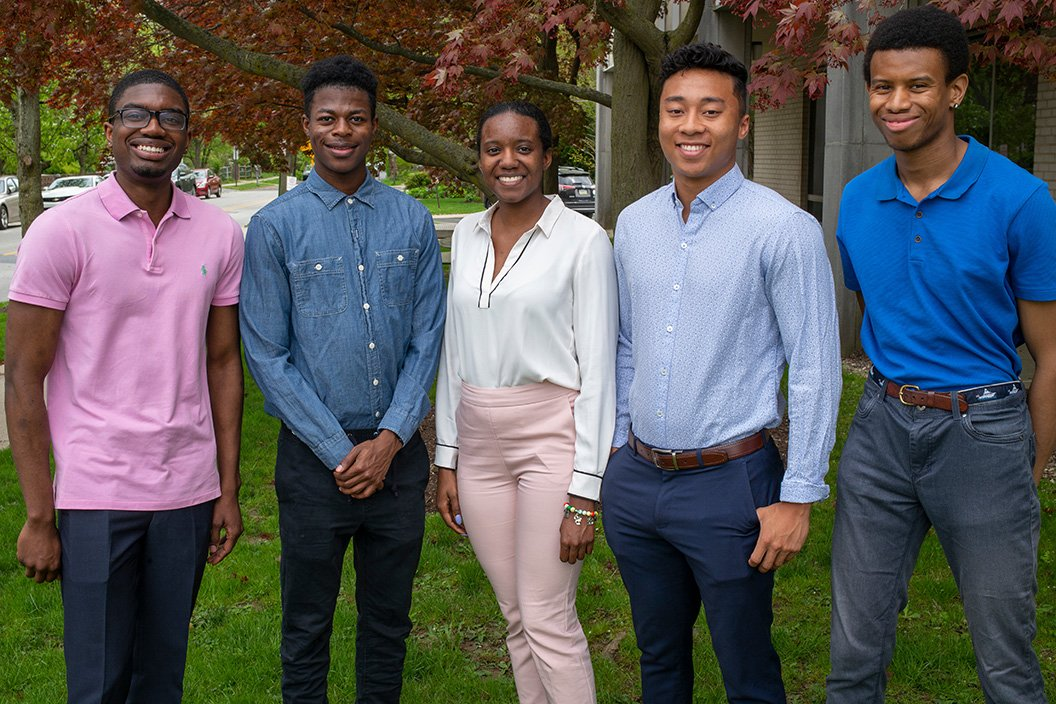 NSBE Executive Board Members (from left): Kendre Thomas '20, Richmond Mensah '21, Jessica Lewis '19, Quentin Millette '20, and Julius Miller '19.