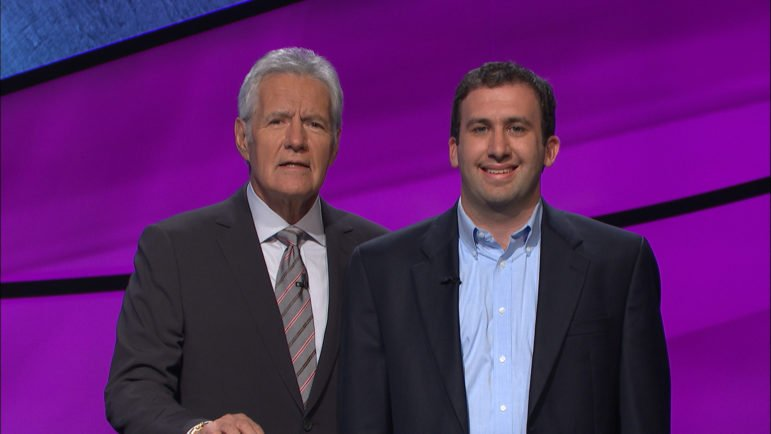 Jeopardy! host Alex Trebek with Ben Raphel '09