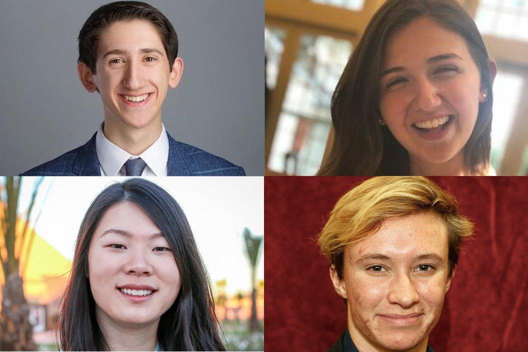 Stanford Fellows (clockwise from left): Christopher Gaeta '22, Emma Parker Miller '22, Ray Sidener '21, and Nancy Yuan '20