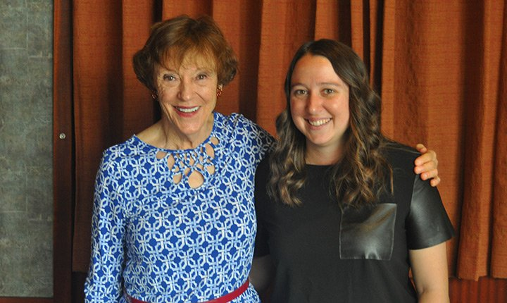 Caro Elise Luhrs '56 with Katie Clark, director of the Center for Innovation and Leadership