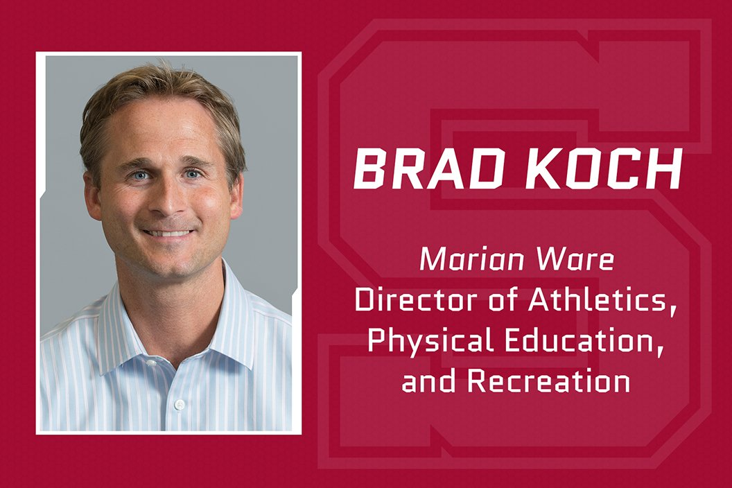"""Headshot of Brad Koch with text that reads """"Marian Ware Director of Athletics, Physical Education, and Recreation"""""""