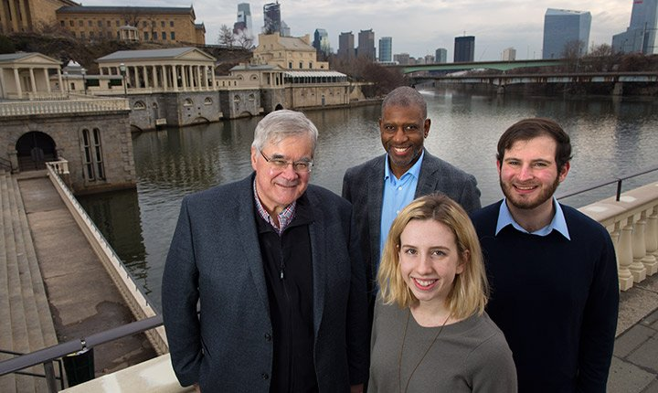 Professor Art McGarity, Lang Center Scholar-in-Residence Arto Woodley, Jonathan Cohen '17, and Alexandra Philyaw '17