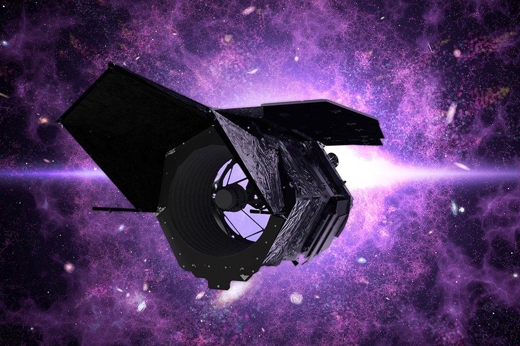 Artist rendering of space telescope in orbit with purple background