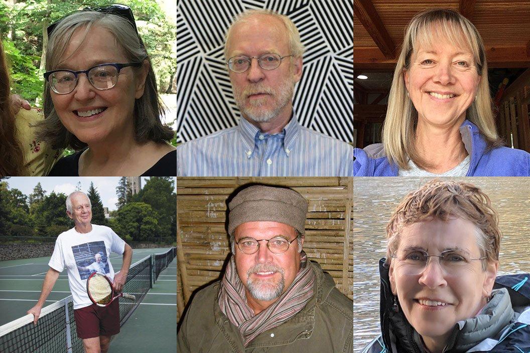 Clockwise from top left: Deborah Bergstrand, Richard Eldridge,Sara Hiebert Burch '79, Connie Hungerford, Brian Meunier, and Mike Mullan.
