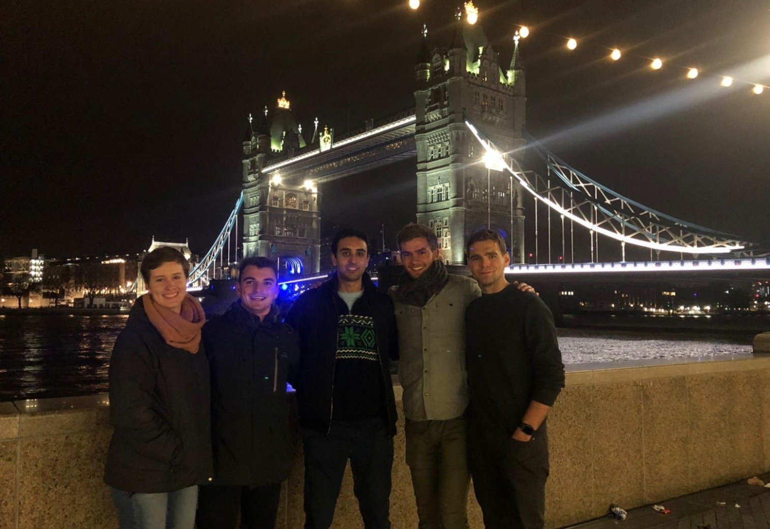 Students in front of the London Bridge