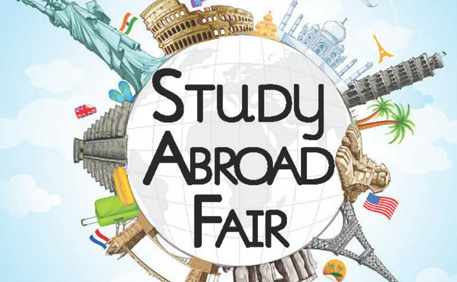 """picture of a globe with the words """"study abroad fair"""" over it"""