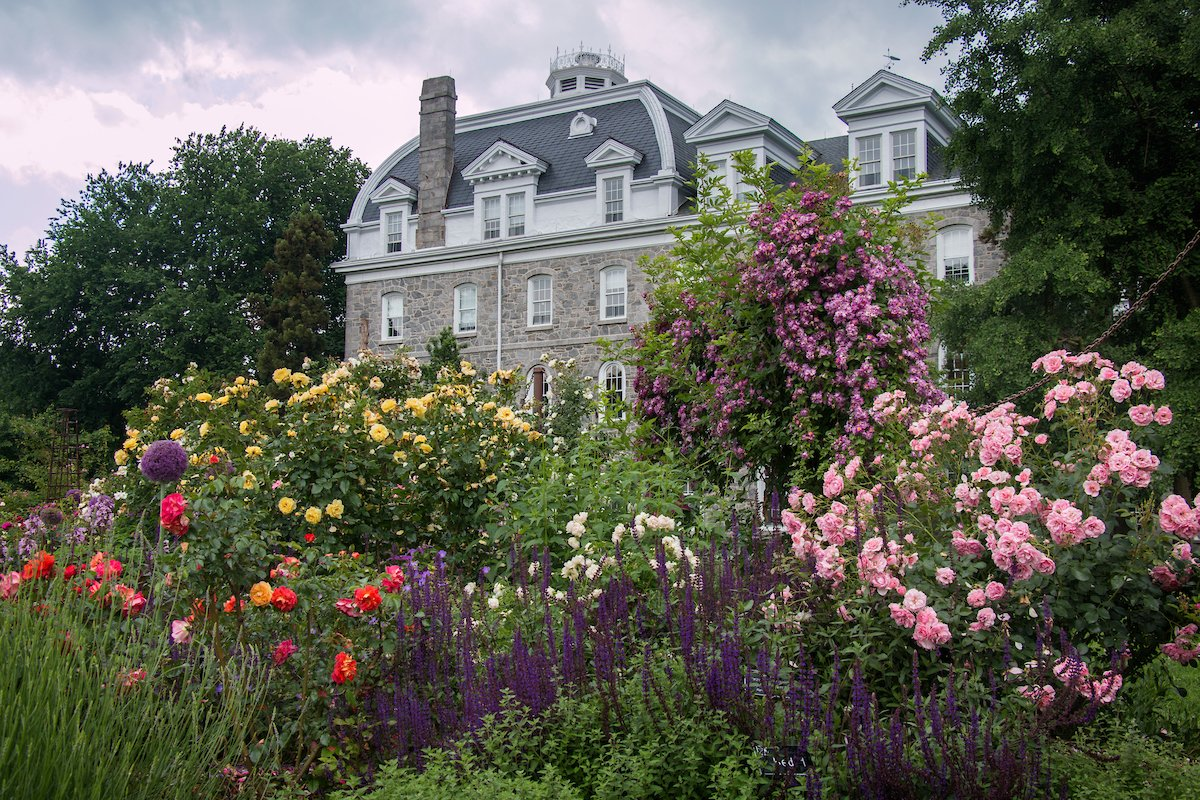 Parrish Hall with flowers in front of it