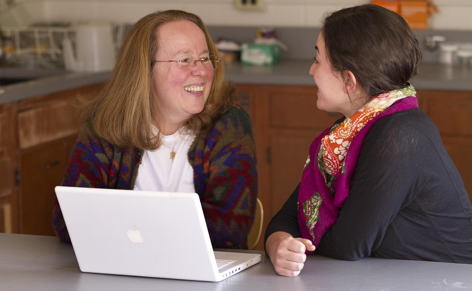 Prof Rachel Merz talking with a student