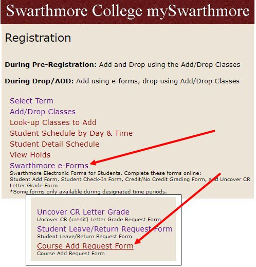 For Add/Drop course adds, go to mySwarthmore, Registration, Swarthmore e-forms.