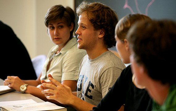 Students discussing religion