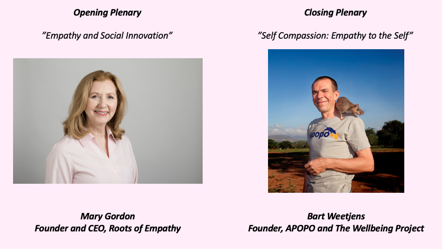 Mary Gordon Founder and CEO, Roots of Empathy, and Bart Weetjens, Founder of APOPO and The Wellbeing Project.